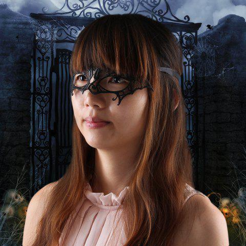 Shop Fashion Elegant Hollow Out Lace Design Bat Mask for Halloween Masquerades Party BLACK