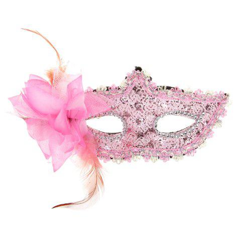 Cheap Elegant Halloween Masquerades Party Lace Feather Half Face Mask with  Flower