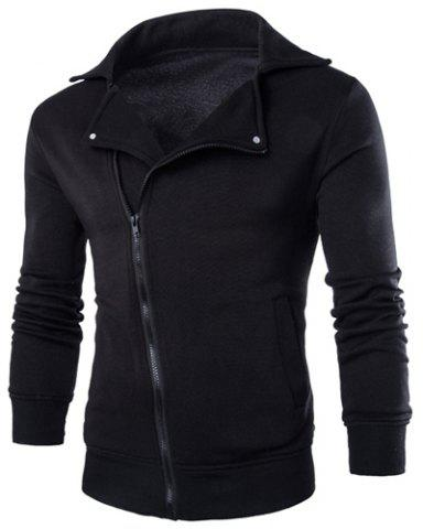 Outfits Inclined Zipper Fly Rib Spliced Turn-down Collar Men's Slimming Flocked Sweatshirt