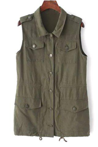 Best Stylish Turn Down Collar Sleeveless Solid Color Women's Waistcoat