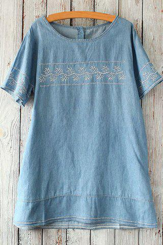 Hot Embroidered Short Sleeve Top LIGHT BLUE ONE SIZE(FIT SIZE XS TO M)