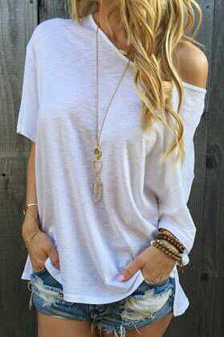 Stylish Oblique Shoulder Short Sleeve Solid Color Women's T-Shirt - White - M