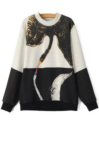 Affordable Casual Style Round Neck Long Sleeve Color Block Swan Print Women's Sweatshirt