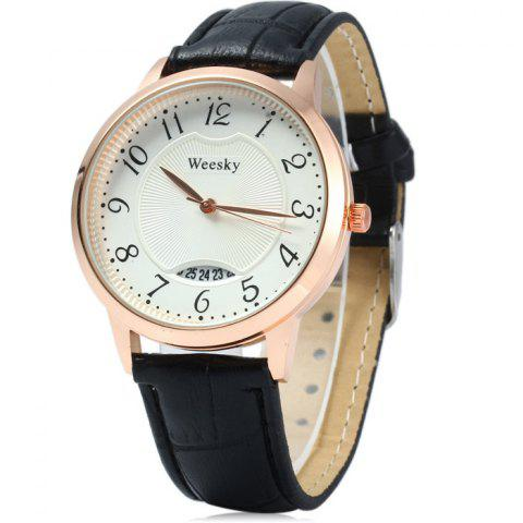 Unique Weesky Leather Band Date Display Quartz Watch Golden Case for Women