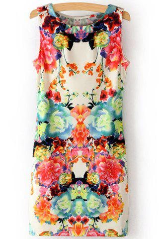 Fashion Stylish Scoop Neck Sleeveless Flower Print Women's Sundress