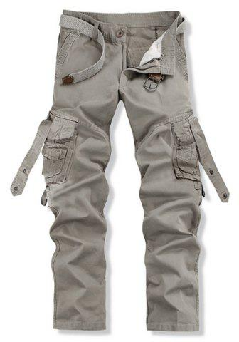 Outfit Loose Fit Trendy Solid Color Multi-Pocket Straight Leg Men's Cotton Blend Cargo Pants - 28 GRAY Mobile