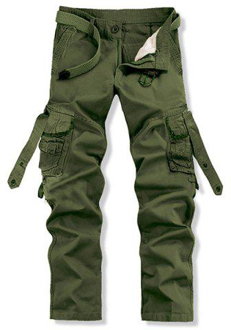 Chic Loose Fit Trendy Solid Color Multi-Pocket Straight Leg Men's Cotton Blend Cargo Pants - 38 ARMY GREEN Mobile