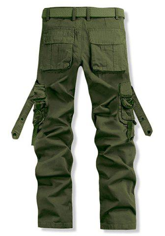 Discount Loose Fit Trendy Solid Color Multi-Pocket Straight Leg Men's Cotton Blend Cargo Pants - 38 ARMY GREEN Mobile