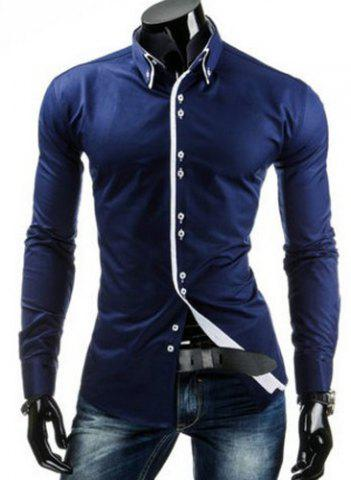 Shop Stylish Slimming Shirt Collar Contrast Color Placket Long Sleeve Polyester Button-Down Shirt For Men