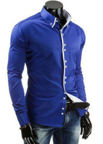 New Stylish Slimming Shirt Collar Contrast Color Placket Long Sleeve Polyester Button-Down Shirt For Men - L SAPPHIRE BLUE Mobile
