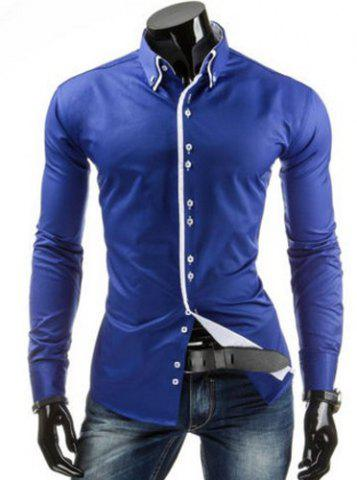 Affordable Stylish Slimming Shirt Collar Contrast Color Placket Long Sleeve Polyester Button-Down Shirt For Men - L SAPPHIRE BLUE Mobile