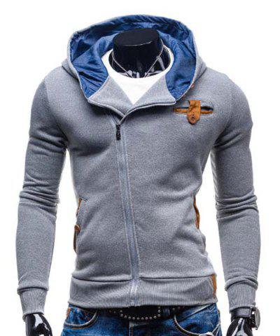 Affordable Modish Hooded Patched Splicing Oblique Zipper Slimming Long Sleeve Polyester Hoodie For Men LIGHT GRAY M
