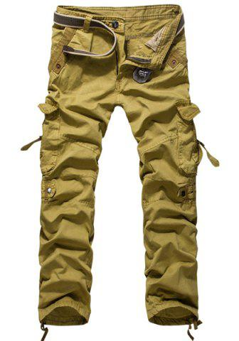 Latest Loose Fit Modish Multi-Pocket Solid Color Straight Leg Men's Cotton Blend Cargo Pants KHAKI 36