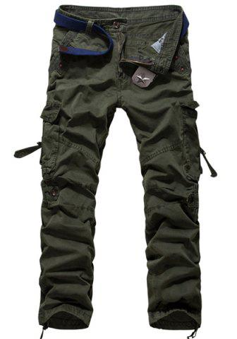 Latest Loose Fit Modish Multi-Pocket Solid Color Straight Leg Men's Cotton Blend Cargo Pants - 34 ARMY GREEN Mobile