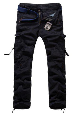 Hot Loose Fit Modish Multi-Pocket Solid Color Straight Leg Men's Cotton Blend Cargo Pants BLACK 30