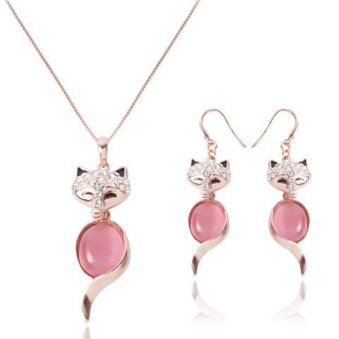 Best Chic Rhinestone and Faux Opal Decorated Fox Shape Pendant Necklace and A Pair of Earrings For Women ROSE GOLD