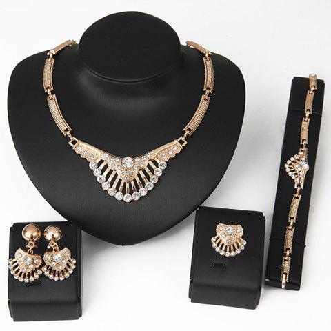 Cheap Delicate Rhinestone Necklace Bracelet Ring and A Pair of Earrings For Women