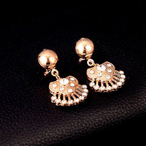 Buy Delicate Rhinestone Necklace Bracelet Ring and A Pair of Earrings For Women - GOLDEN  Mobile