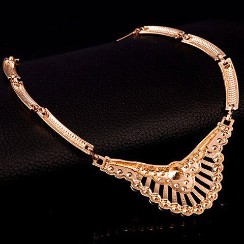 Best Delicate Rhinestone Necklace Bracelet Ring and A Pair of Earrings For Women - GOLDEN  Mobile