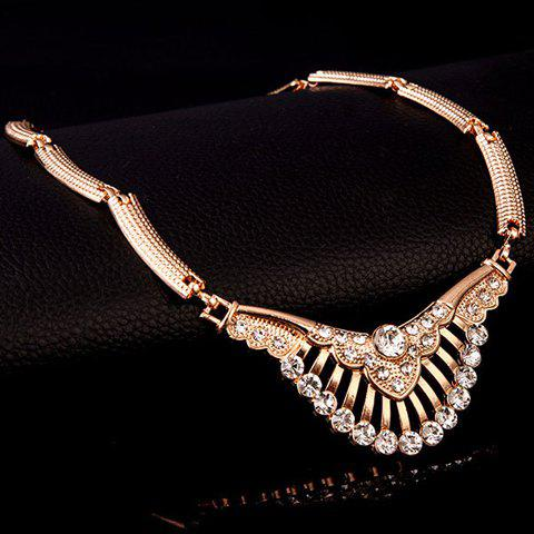 Chic Delicate Rhinestone Necklace Bracelet Ring and A Pair of Earrings For Women - GOLDEN  Mobile