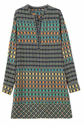 Buy Fashionable V Neck Colorful Round Pattern Long Sleeve Dress For Women COLORMIX S