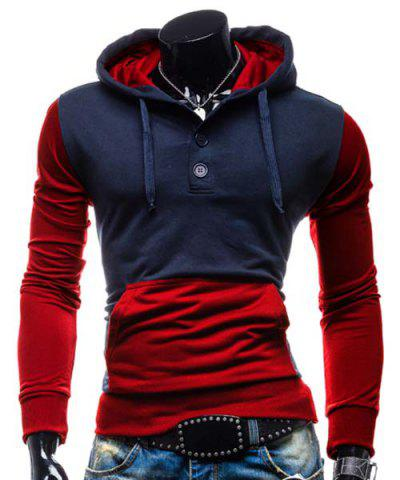 Shop Fashion Hooded Two Color Splicing Button Design Slimming Long Sleeve Cotton Blend Hoodie For Men RED M