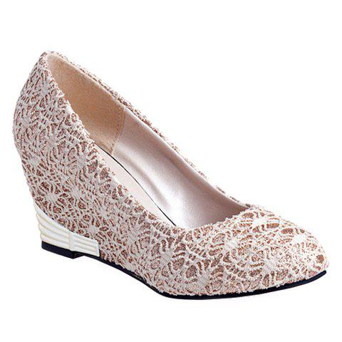 Buy Elegant Lace and Round Toe Design Women's Wedge Shoes