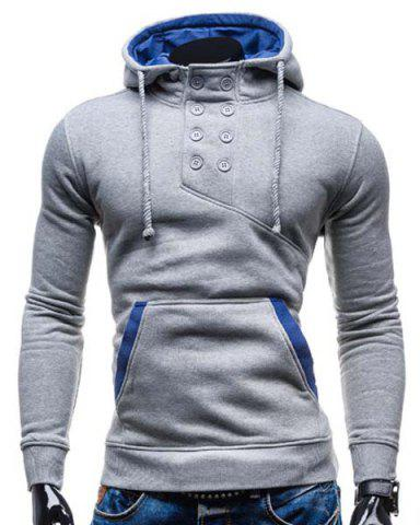 Cheap Trendy Hooded Double Breasted Pocket Hemming Slimming Long Sleeve Cotton Blend Hoodie For Men LIGHT GRAY L