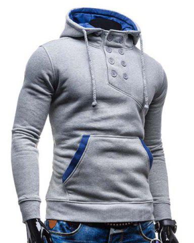 New Trendy Hooded Double Breasted Pocket Hemming Slimming Long Sleeve Cotton Blend Hoodie For Men - LIGHT GRAY XL Mobile