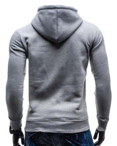 Shop Trendy Hooded Double Breasted Pocket Hemming Slimming Long Sleeve Cotton Blend Hoodie For Men - LIGHT GRAY XL Mobile