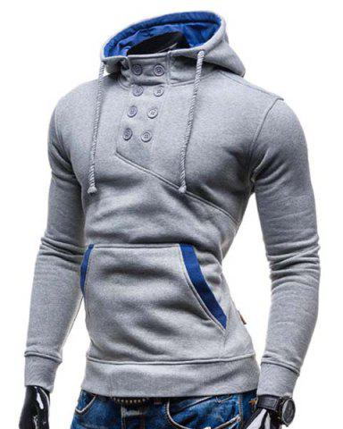 Shop Trendy Hooded Double Breasted Pocket Hemming Slimming Long Sleeve Cotton Blend Hoodie For Men - LIGHT GRAY 2XL Mobile