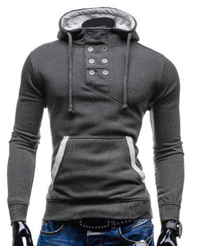Shop Trendy Hooded Double Breasted Pocket Hemming Slimming Long Sleeve Cotton Blend Hoodie For Men DEEP GRAY L