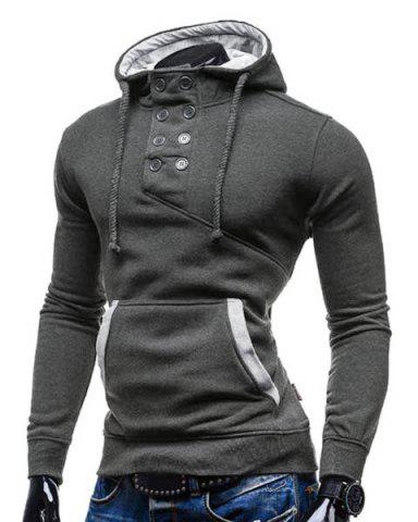 Outfits Trendy Hooded Double Breasted Pocket Hemming Slimming Long Sleeve Cotton Blend Hoodie For Men - DEEP GRAY 2XL Mobile