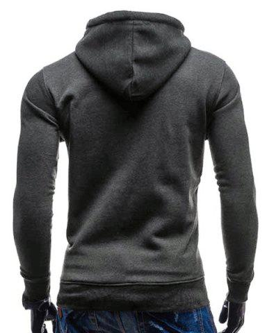 Fancy Trendy Hooded Double Breasted Pocket Hemming Slimming Long Sleeve Cotton Blend Hoodie For Men - DEEP GRAY 2XL Mobile