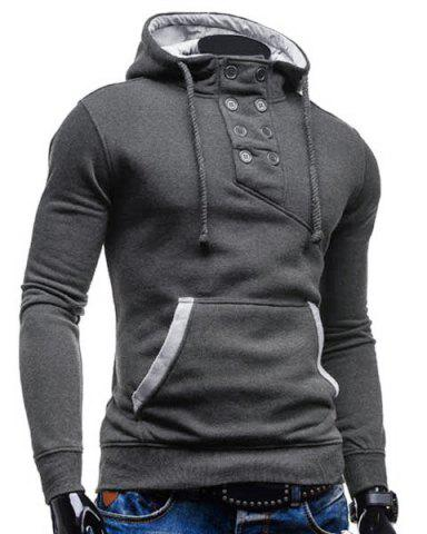 Discount Trendy Hooded Double Breasted Pocket Hemming Slimming Long Sleeve Cotton Blend Hoodie For Men - DEEP GRAY 2XL Mobile