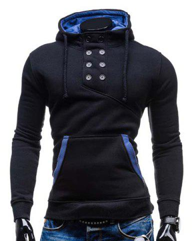 Discount Trendy Hooded Double Breasted Pocket Hemming Slimming Long Sleeve Cotton Blend Hoodie For Men BLACK M