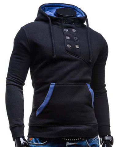 Outfits Trendy Hooded Double Breasted Pocket Hemming Slimming Long Sleeve Cotton Blend Hoodie For Men - M BLACK Mobile
