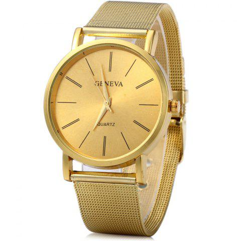 Outfit Geneva Male Quartz Watch with Round Dial Stainless Steel Band GOLDEN
