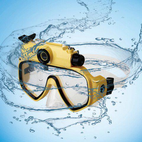 Online 2 in 1 Design Diving Glasses Mask + Underwater Camera 720P for 30m Water Depth - YELLOW  Mobile