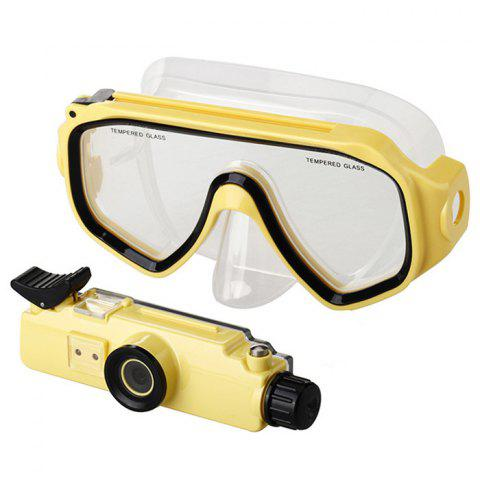 Unique 2 in 1 Design Diving Glasses Mask + Underwater Camera 720P for 30m Water Depth - YELLOW  Mobile