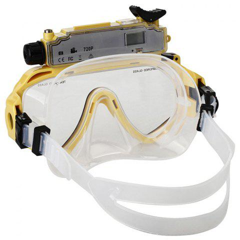 Trendy 2 in 1 Design Diving Glasses Mask + Underwater Camera 720P for 30m Water Depth - YELLOW  Mobile