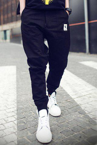 Affordable Rib Cuffs Ethnic Applique Slimming Jogger Pants BLACK M