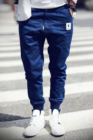 Outfits Rib Cuffs Ethnic Applique Slimming Jogger Pants DEEP BLUE 2XL