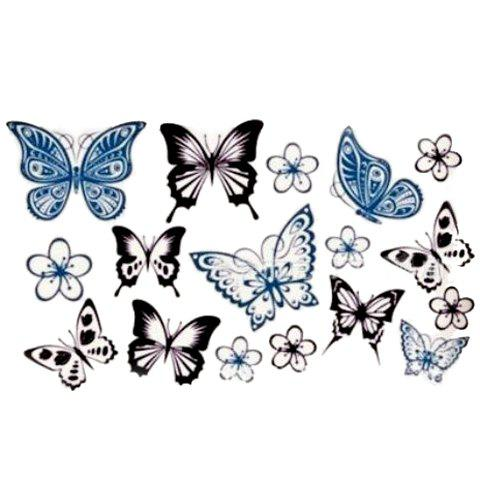 Outfits Chic Various Butterflies and Flower Pattern Waterproof Tattoo Sticker For Women - AS THE PICTURE  Mobile