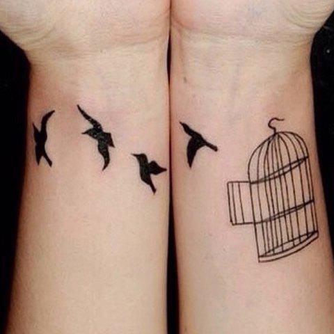 Outfits Chic Birdcage and Bird Pattern Waterproof Tattoo Sticker For Women - BLACK  Mobile