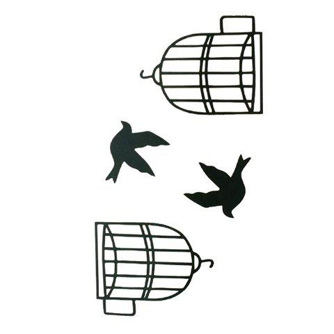 New Chic Birdcage and Bird Pattern Waterproof Tattoo Sticker For Women - BLACK  Mobile