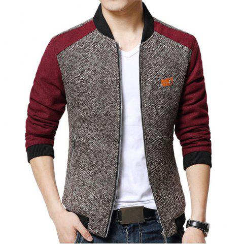 Stylish Fitted Stand Collar Labeling Color Block Fabric Splicing Long Sleeve Polyester Jacket For Men