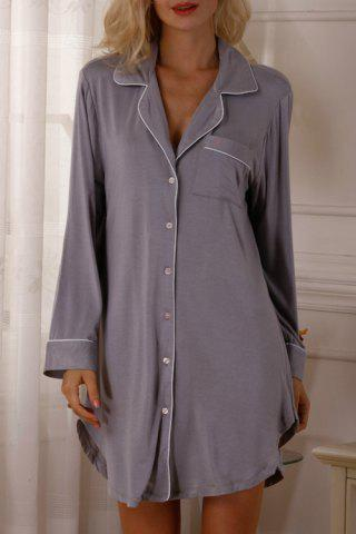 Casual Style Lapel Neck Long Sleeve Solid Color Women's Sleepwear - Gray - M