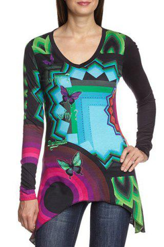 Fashionable V Neck Butterfly Geometric Print Long Sleeve T-Shirt For Women - Colormix - Xl