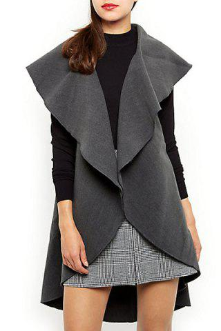 Hot Grey Plain Waterfall Gilet - M DEEP GRAY Mobile